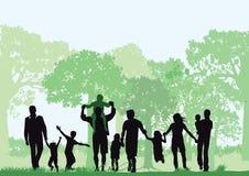 Familias en bosque stock de ilustración