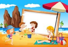 Familias en marco de la playa stock de ilustración