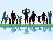 Familias en orilla del lago stock de ilustración