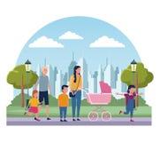 Familias en parque stock de ilustración