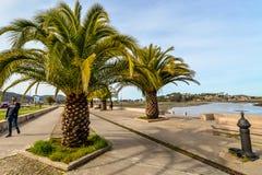 Familias en Playa América - Nigran - Galicia imagen de archivo