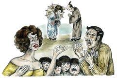 Familias italianas y japonesas stock de ilustración