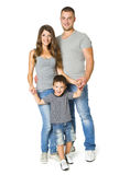 Familie über weißem Hintergrund, glückliche Eltern mit Kind, drei Stockbild