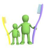 Familie 3d mit einem Zahn-brushs Stockfotos
