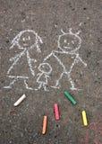 Familie. Abbildung auf Asphalt Stockbilder