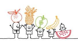 Familie & vruchten stock afbeelding
