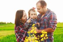 Familie auf dem Gebiet Stockfotos