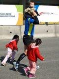 Familie auf dem Vancouver-Marathon Stockfoto
