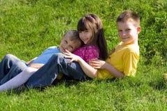 Familie auf einer Wiese lizenzfreie stockfotos