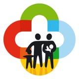 Familie auf farbigen Zeichen Lizenzfreie Stockbilder