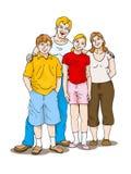 Familie auf getrenntem weißem Hintergrund Stockfotos