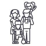 Familie, auf Schultern des Vaters s, Mutter, die Sohn, Sohn mit Ballvektorlinie Ikone, Zeichen, Illustration auf Hintergrund hält vektor abbildung