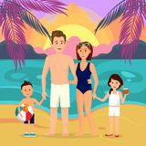 Familie auf Strand an der Nachtkarikatur-Illustration vektor abbildung
