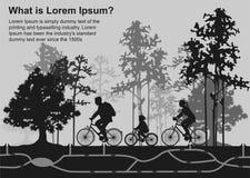 Familie auf Zyklusfahrt im Wald, Ratten schleichen sich Bauten ein Aufgeteilte Illustration stock abbildung