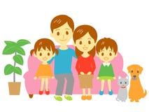 Familie, banklaag Stock Foto's