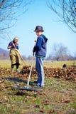Familie bei der Arbeit in einem Obstgarten Lizenzfreie Stockfotos