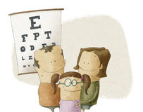 Familie besucht Augenarztdoktor Stockfoto