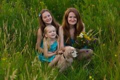 Familie bij het avondgebied Stock Fotografie