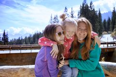 Familie bij het Dolomiet Royalty-vrije Stock Fotografie
