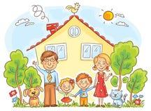 Familie bij het Huis stock illustratie