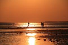 Familie bij kustlijn Royalty-vrije Stock Fotografie