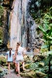 Familie bij waterval stock foto