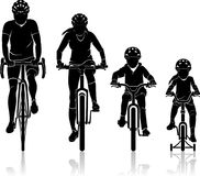 Familie Biking Front View royalty-vrije illustratie