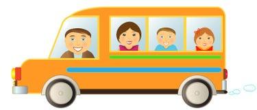 Familie in bus Stock Fotografie