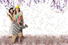 Familie in Carnaval Stock Afbeeldingen