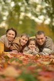 Familie in de herfstbos Stock Afbeeldingen
