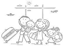 Familie in de luchthaven met hun bagage Royalty-vrije Stock Afbeeldingen