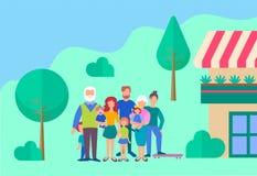 Familie in de yard van zijn huis Het concept een gelukkig familie en een welzijn royalty-vrije illustratie