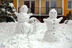 Familie del pupazzo di neve Fotografia Stock