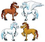 Familie der Pferde + 1 Pegasus. Stockbilder
