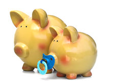 Familie der Piggy Querneigung Lizenzfreie Stockfotos