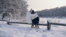 Familie in der warmen Kleidung, die die Winterlandschaft bewundernd umarmt stock footage