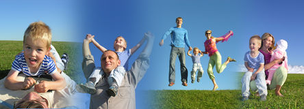 Familie, die 2 zusammenbaut Lizenzfreies Stockbild