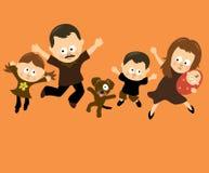 Familie die 3 springt Stock Foto