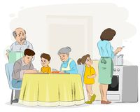 Familie, die Abendessen vorbereitet Lizenzfreies Stockfoto