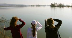 Familie die afstand onderzoeken dichtbij meer die - tegen de zon kijken stock footage