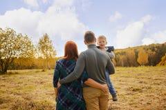 Familie, die auf dem Wiesenumarmen geht Stockfotografie