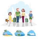 Familie, die auf Ferien geht Stockbilder
