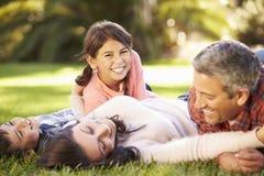 Familie, die auf Gras in der Landschaft liegt stockfotografie