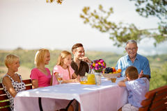 Familie, die auf Picknick genießt stockbild