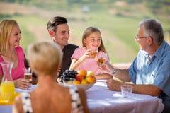 Familie, die auf Picknick sich entspannt lizenzfreie stockfotos