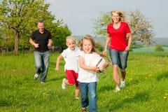 Familie, die Ballspiele spielt Stockbild