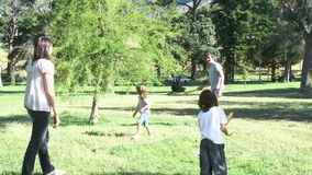 Familie, die Baseball in einem Park spielt stock video