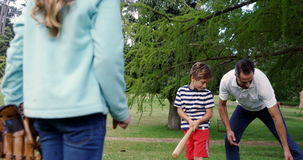 Familie, die Baseball im Park spielt stock video