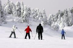 Familie die bergaf skiô Stock Foto