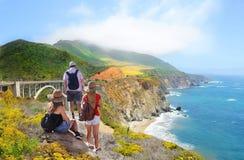 Familie die de mooie mening van de zomerbergen bekijken Stock Fotografie